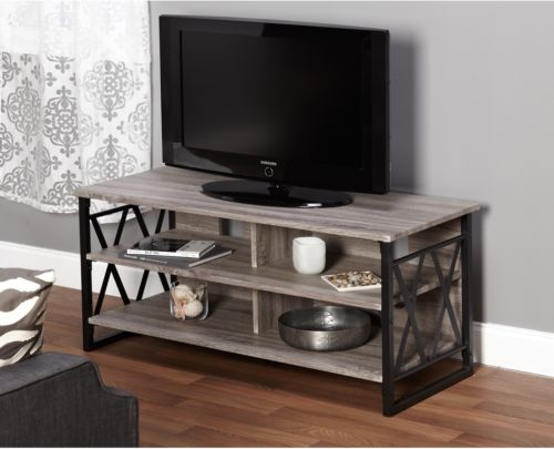 Impressive Brand New Grey Wood TV Stands With Regard To Wood Tv Stand 48 Inch Living Room Home Furniture Media (Image 33 of 50)