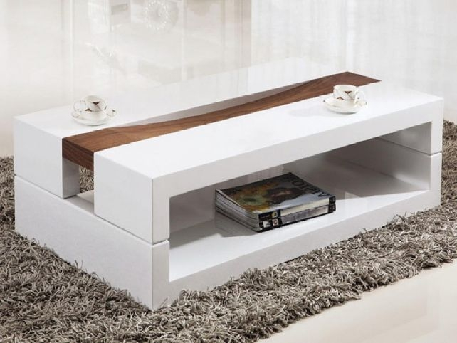 Impressive Brand New Large Low White Coffee Tables For Living Room The Most Modern White Coffee Tables And Console Table (View 21 of 50)