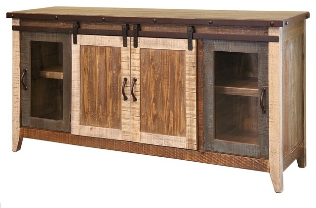 Impressive Brand New Rustic TV Stands Pertaining To Madeline Antique Multi Color Rustic Sliding Barn Door Tv Stand (Image 30 of 50)