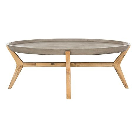 Impressive Brand New Safavieh Coffee Tables In Safavieh Hadwin Modern Concrete Oval Coffee Table 8496303 Hsn (Image 29 of 50)