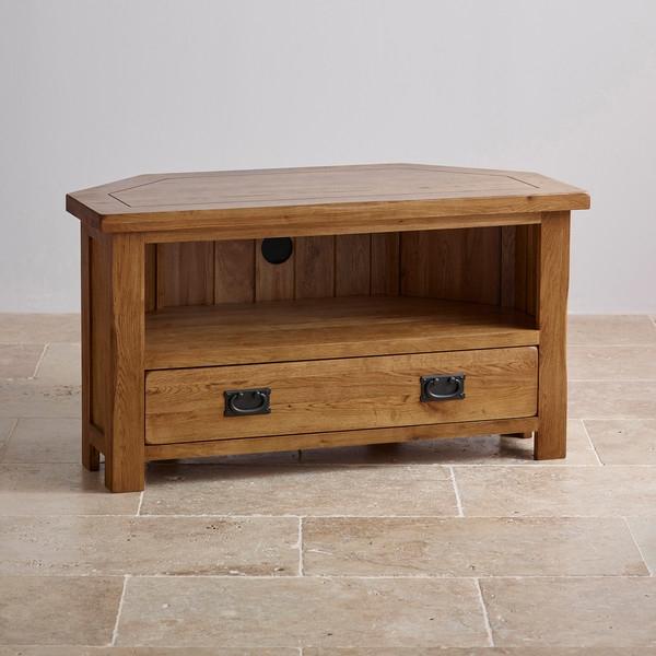 Impressive Brand New Solid Oak TV Cabinets In Original Rustic Corner Tv Cabinet In Solid Oak Oak Furniture Land (View 26 of 50)