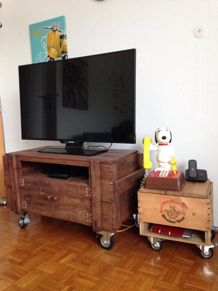 Impressive Brand New Wooden TV Stands With Wheels Intended For Rustic Pallet Tv Stand On Wheels 99 Pallets (Image 28 of 50)