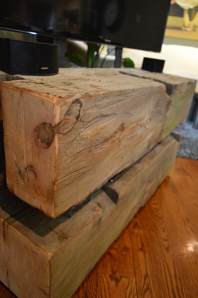 Impressive Common Beam Through TV Stands With Loveles Salvaged Barn Boardbeam Tv Stand Wilkins Design (View 50 of 50)