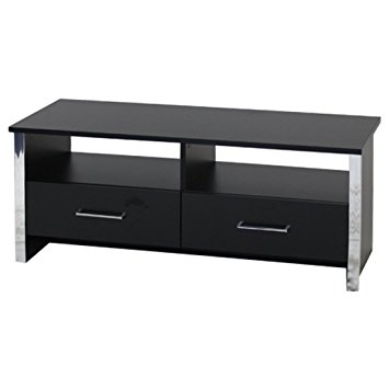 Impressive Common Black TV Cabinets With Drawers Pertaining To Black Tv Cabinet Entertainment Unit With Chrome Trim 2 Drawers (Image 27 of 50)