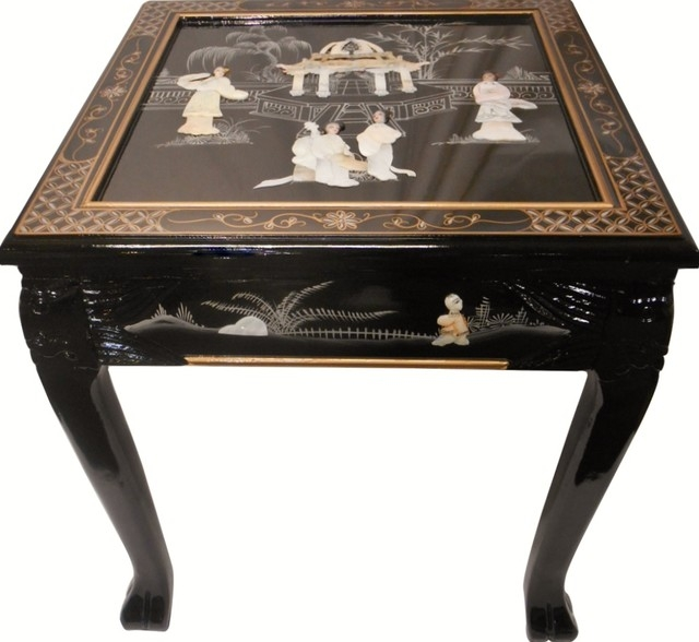 Impressive Common Dragon Coffee Tables In Dragon Leg Oriental End Table Inlaid Pearl Black Lacquer Asian (Image 30 of 50)