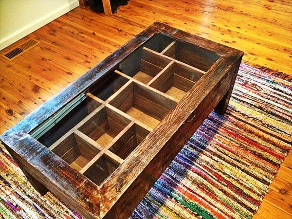 Impressive Common Glass Top Storage Coffee Tables In Wood Pallet Coffee Table With Glass Top 101 Pallets (Image 32 of 50)
