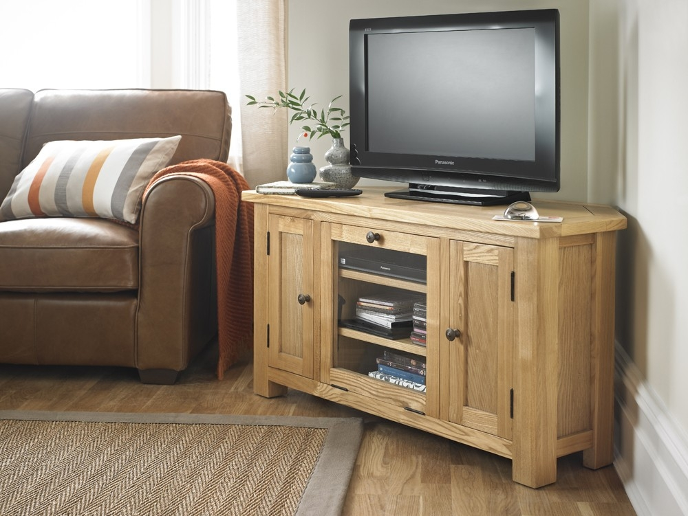 Impressive Common Solid Oak Corner TV Cabinets Pertaining To Solid Wood Plum Compact Corner Tv Cabinet Halo Living (Image 26 of 50)