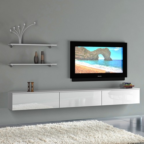 Impressive Common TV Cabinets And Wall Units Throughout Living Room Beautiful White Brown Wood Glasss Luxury Design Wall (Image 24 of 50)