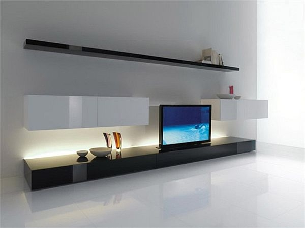 Impressive Common Ultra Modern TV Stands Regarding Furniture Ultra Modern Room Decor With Long Black Tv Stand (Image 21 of 50)