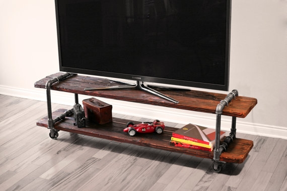 Impressive Common Vintage Industrial TV Stands Inside Vintage Industrial Cast Iron Pipe Table Tv Stand (Image 25 of 50)