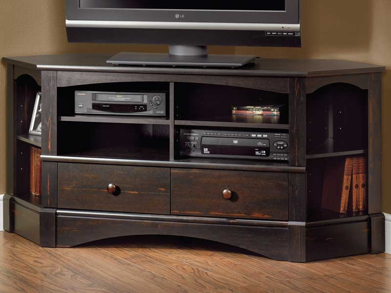 Impressive Deluxe Black Corner TV Cabinets Inside Antique Black Corner Tv Stand (View 17 of 50)