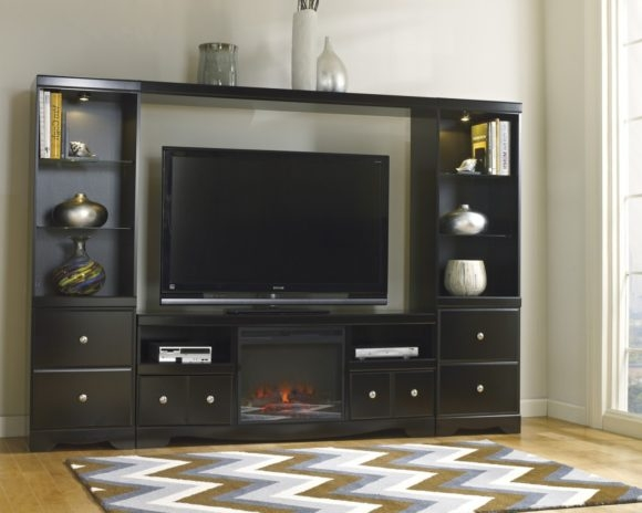 Impressive Deluxe Black TV Stands With Drawers Regarding Furniture Great Collection Of Black Tv Stand With Fireplace To (Image 24 of 50)