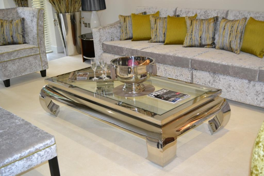 Impressive Deluxe Chrome And Glass Coffee Tables Throughout Glass And Chrome Coffee Table (View 31 of 50)