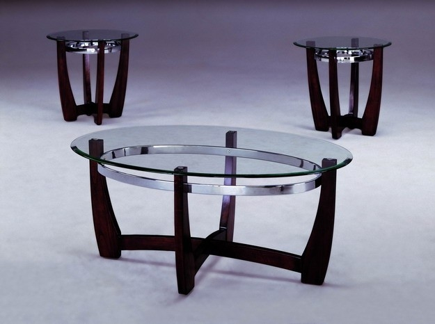 Impressive Deluxe Chrome And Wood Coffee Tables With Regard To Modern Chromeglasswood 3pc Coffee Table Set Dream Rooms Furniture (Image 25 of 50)