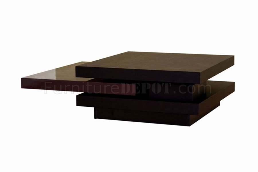 Impressive Deluxe Dark Brown Coffee Tables With Dark Brown Contemporary Coffee Table W Rotating Table Panels (View 4 of 50)