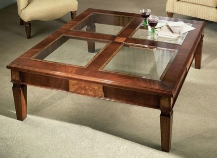 Impressive Deluxe Dark Wood Coffee Tables With Glass Top Pertaining To Coffee Table Glass Top Wooden Coffee Table Every Solid Wood (Image 22 of 50)