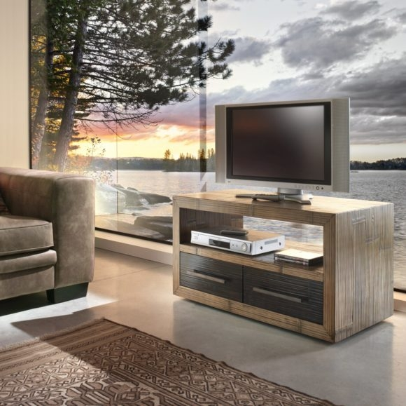 Impressive Deluxe Double TV Stands Inside Furniture Varnished Brown Wooden Tv Stands With Double Glass Door (Image 24 of 50)
