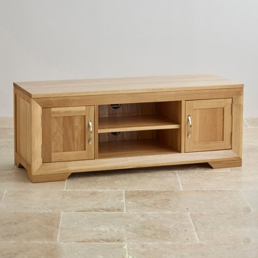 Impressive Deluxe Large Oak TV Cabinets Intended For Bevel Natural Solid Oak Widescreen Tv Dvd Cabinet (Image 28 of 50)