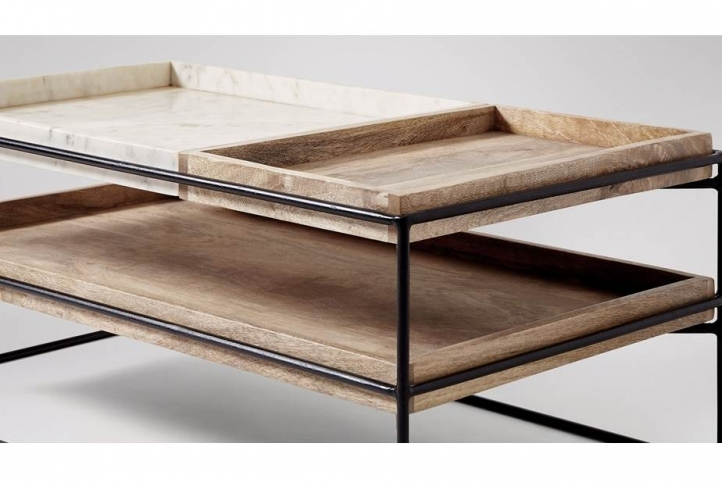 Impressive Deluxe Mango Wood Coffee Tables Throughout Hansel Marble Mango Wood Coffee Table Black Absolute Home (Image 22 of 50)