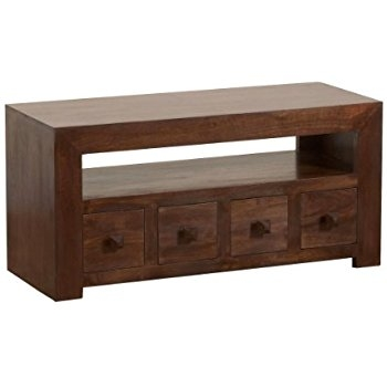 Impressive Deluxe Mango Wood TV Cabinets Regarding Homescapes Dakota Solid Mango Wood Tv Dvd Media Unit With Drawers (Image 25 of 50)