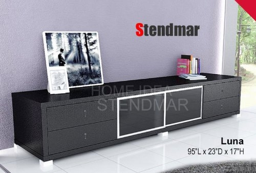 Impressive Deluxe Modern Black TV Stands In 95l Black Modern Euro Style Tv Stand Table Luna (View 22 of 50)