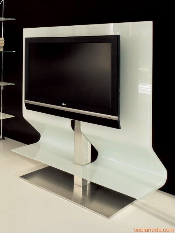 Impressive Deluxe White Glass TV Stands With Regard To Odeon 7098 Tonin Casa Tv Stand Made Of Bent Glass And Stainless (Image 32 of 50)