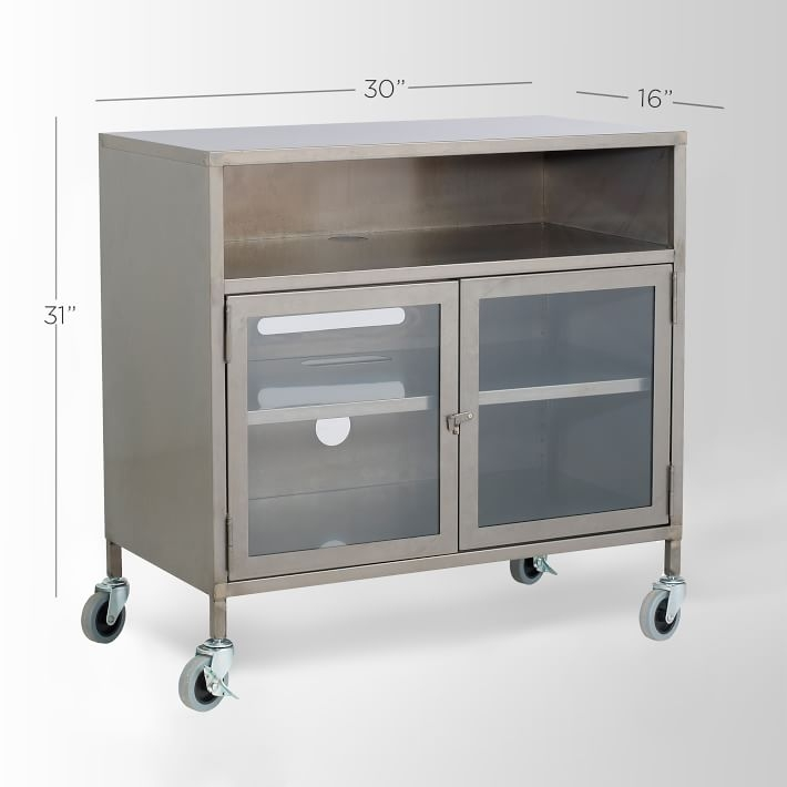 Impressive Elite Industrial Metal TV Cabinets Within Metal Industrial Tv Cart West Elm (Image 27 of 50)