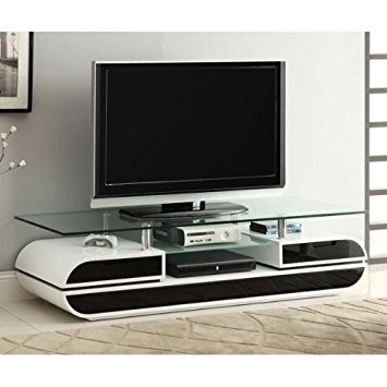 Impressive Elite Long White TV Stands Throughout Amazon Evos Black And White Finish Contemporary Style Tv (Image 25 of 50)
