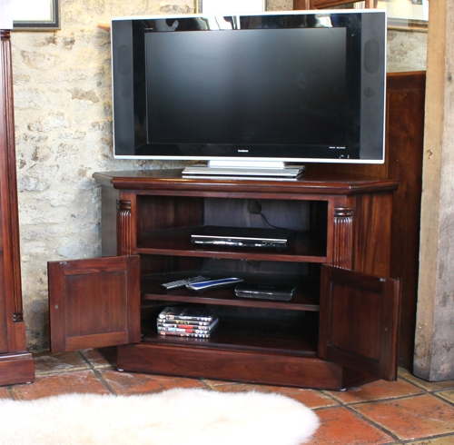 Impressive Elite Mahogany Corner TV Cabinets In Mahogany Corner Tv Unit La Roque Range (Image 28 of 50)