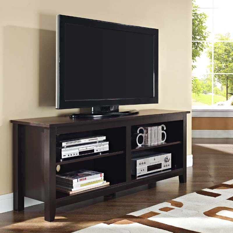 Impressive Elite Modern TV Stands For 60 Inch TVs Pertaining To Walker Edison Open Shelf 60 Inch Tv Stand Espresso W58cspes (Image 22 of 50)