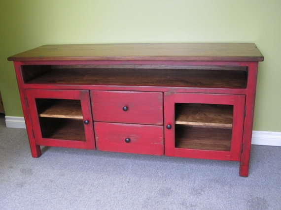 Impressive Elite Red TV Stands With Regard To Red Tv Stand Wooden 60 Long Tv Console Cottage (Image 25 of 50)