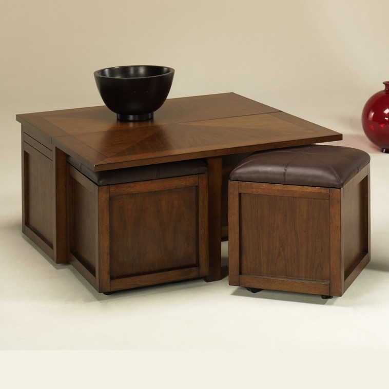 Impressive Elite Square Dark Wood Coffee Table Regarding Furniture Black Leather Square Table With Storage Ottomans (Image 24 of 40)
