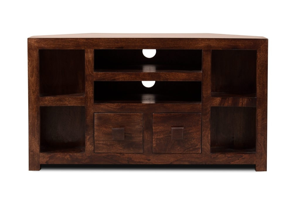 Impressive Elite Walnut Corner TV Stands Intended For Walnut Stained Indian Mango Wood Tv Stand 42 Corner Unit Casa (Image 31 of 50)