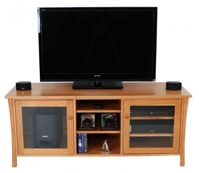 Impressive Famous Cherry TV Stands Within Andrews Natural Cherry Media Console High End Wood Tv Stands (Image 28 of 50)