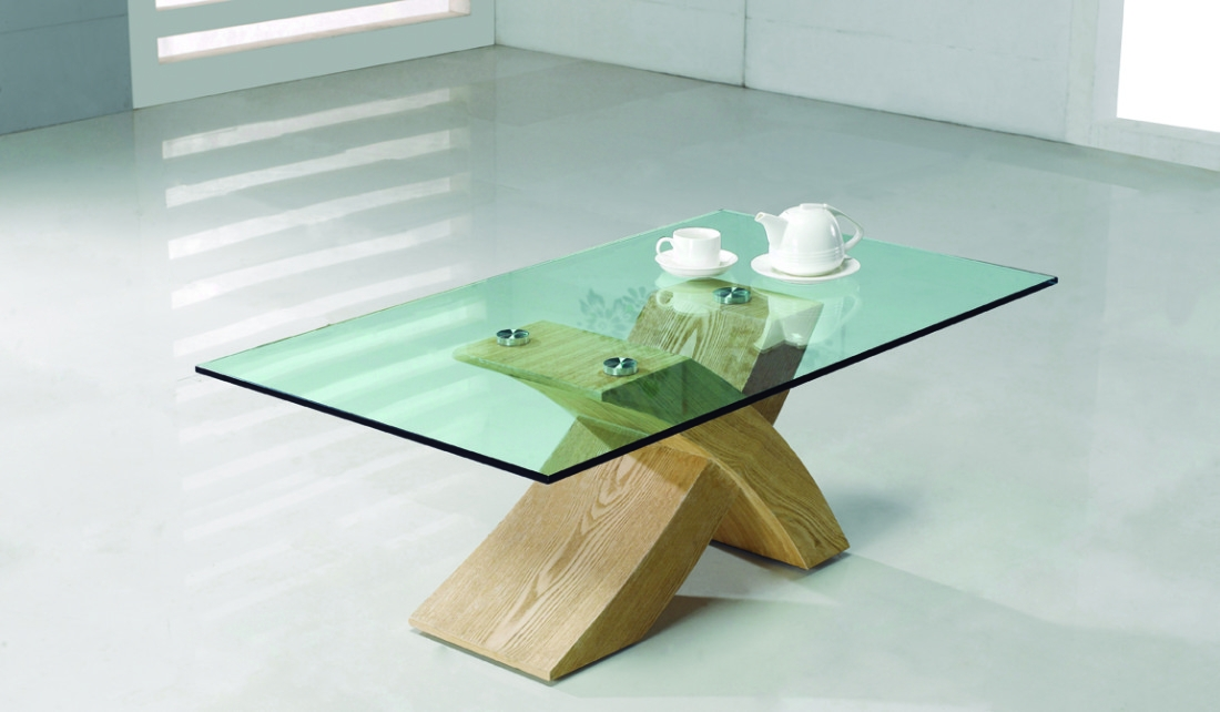 Impressive Famous Glass Oak Coffee Tables Inside Wooden Glass Coffee Table Gallery Image Capudocs (Image 31 of 50)