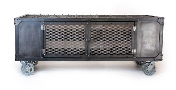 Impressive Famous Industrial Metal TV Stands For Industrial Rolling Media Cabinet Tv Stand On Casters Console (Image 24 of 50)
