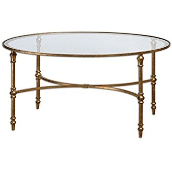 Impressive Famous Metal Oval Coffee Tables Pertaining To Amazon Magnussen 37526 Galloway Subtle Gold With Dark (View 39 of 50)