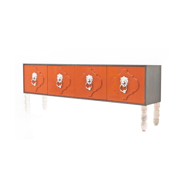 Impressive Famous Orange TV Stands With Regard To Moroccan Credenza In Orange And Grey Rift Oak Tv Stands Modshop (View 27 of 50)
