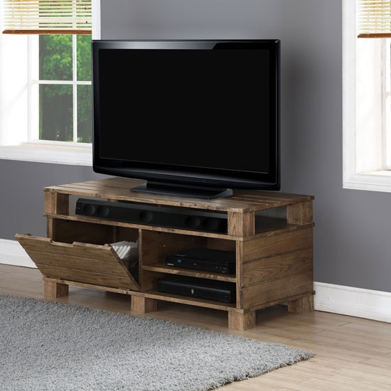 Impressive Famous Rustic Oak TV Stands For Somerset Wooden Tv Stand In Rustic Oak With Flap Door (View 36 of 50)