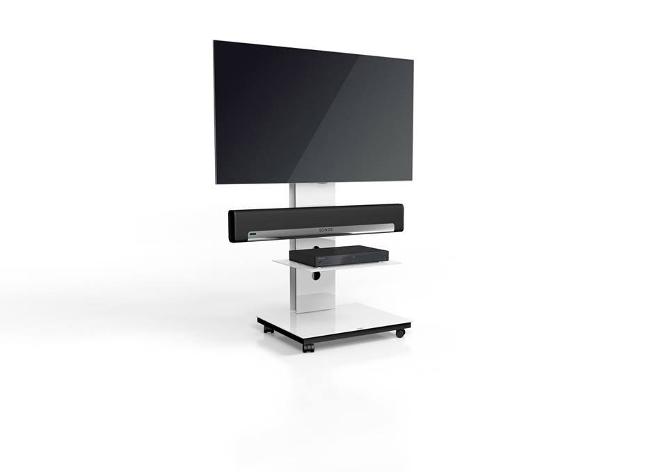 Impressive Famous Sonos TV Stands Inside Spectral Tray Px601sx White Gloss Glass 1 Shelf Tv Stand W (View 4 of 50)