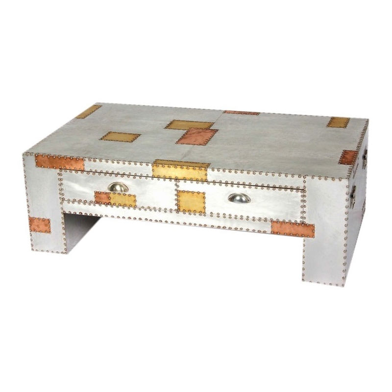 Impressive Fashionable Aluminium Coffee Tables Throughout Aluminium And Copper Industrial Coffee Table (Image 26 of 50)