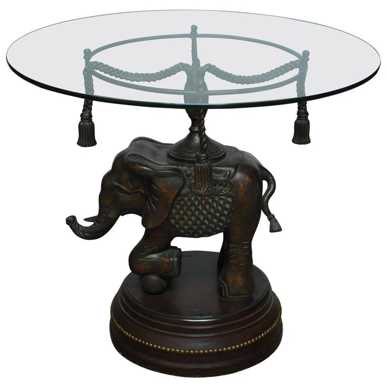 Impressive Fashionable Elephant Glass Coffee Tables With Bronze Elephant Pedestal Side Table For Sale At 1stdibs (Image 21 of 40)