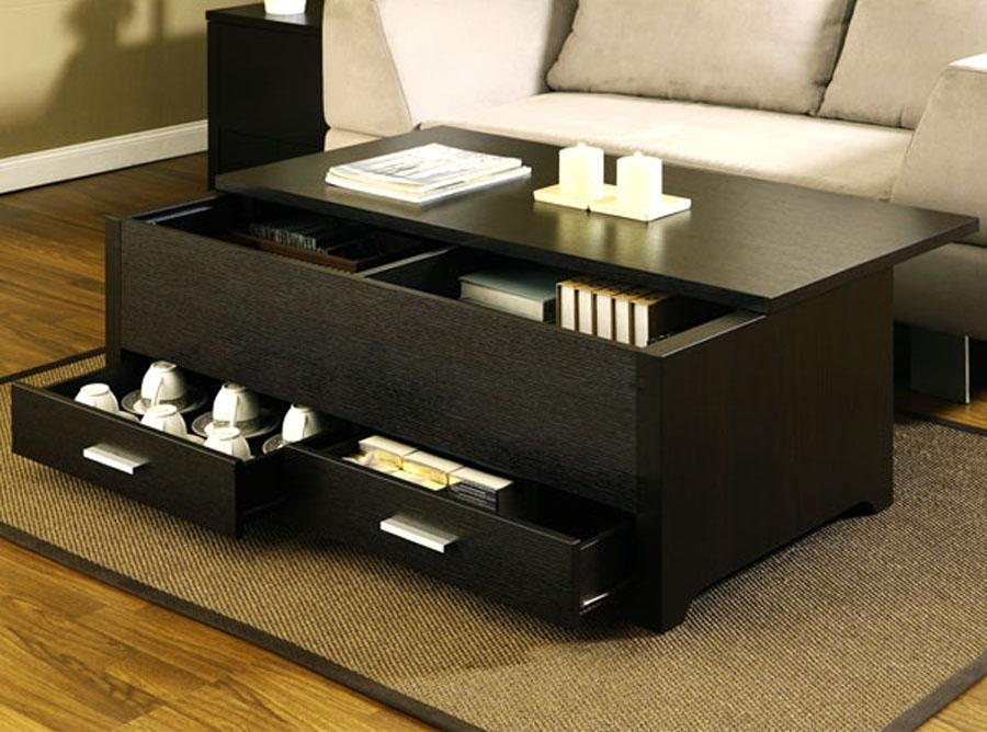 Impressive Fashionable Glass Top Storage Coffee Tables With Regard To Top Black Coffee Table With Drawers (Image 33 of 50)
