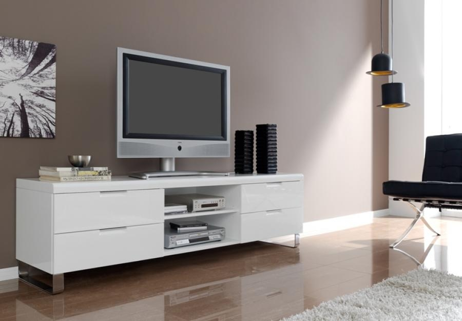 Impressive Fashionable Glossy White TV Stands Inside Tv Stands Glamorous White High Gloss Tv Stand 2017 Design White (Image 26 of 50)