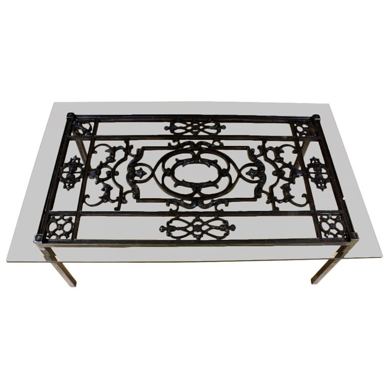 Impressive Fashionable Iron Glass Coffee Table In French Wrought Iron And Glass Top Coffee Table For Sale At 1stdibs (View 25 of 50)
