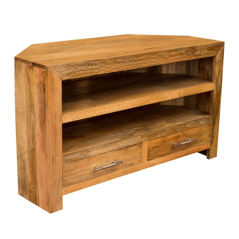 Impressive Fashionable Mango TV Stands Intended For Ambala Cube Light Mango Wood Corner Tv Dvd Unit Solid Indian (View 6 of 50)
