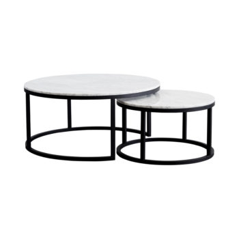 Impressive Fashionable Nest Coffee Tables For Modern Designer Round Nesting Marble Coffee Tables Black Steel (Image 22 of 50)
