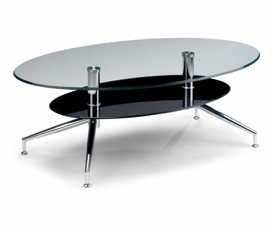 Impressive Fashionable Oval Black Glass Coffee Tables Within Glamorous Glass Coffee Table Design Charming Chrome Table Legs (Image 27 of 50)