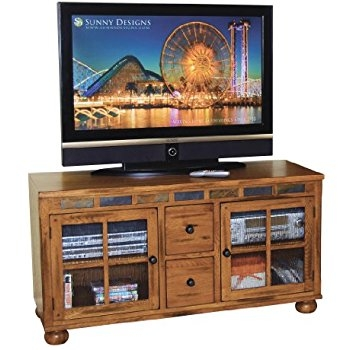 Impressive Fashionable Rustic Oak TV Stands For Amazon Sunny Designs Sedona 62 Tv Stand In Rustic Oak (View 40 of 50)