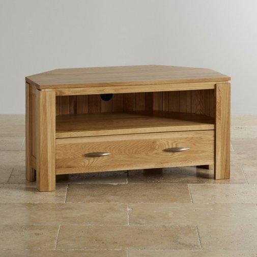 Impressive Fashionable Solid Oak Corner TV Cabinets With Galway Corner Tv Dvd Cabinet In Solid Oak Oak Furniture Land (View 15 of 50)